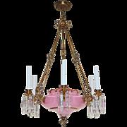 Antique Cased Pink Opaline Glass Continental Chandelier