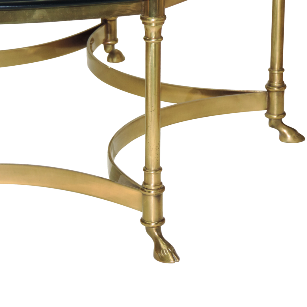 vintage la barge / labarge brass coffee table - glass top from