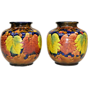 Pair Colorful Vintage Awaji Pottery Vases
