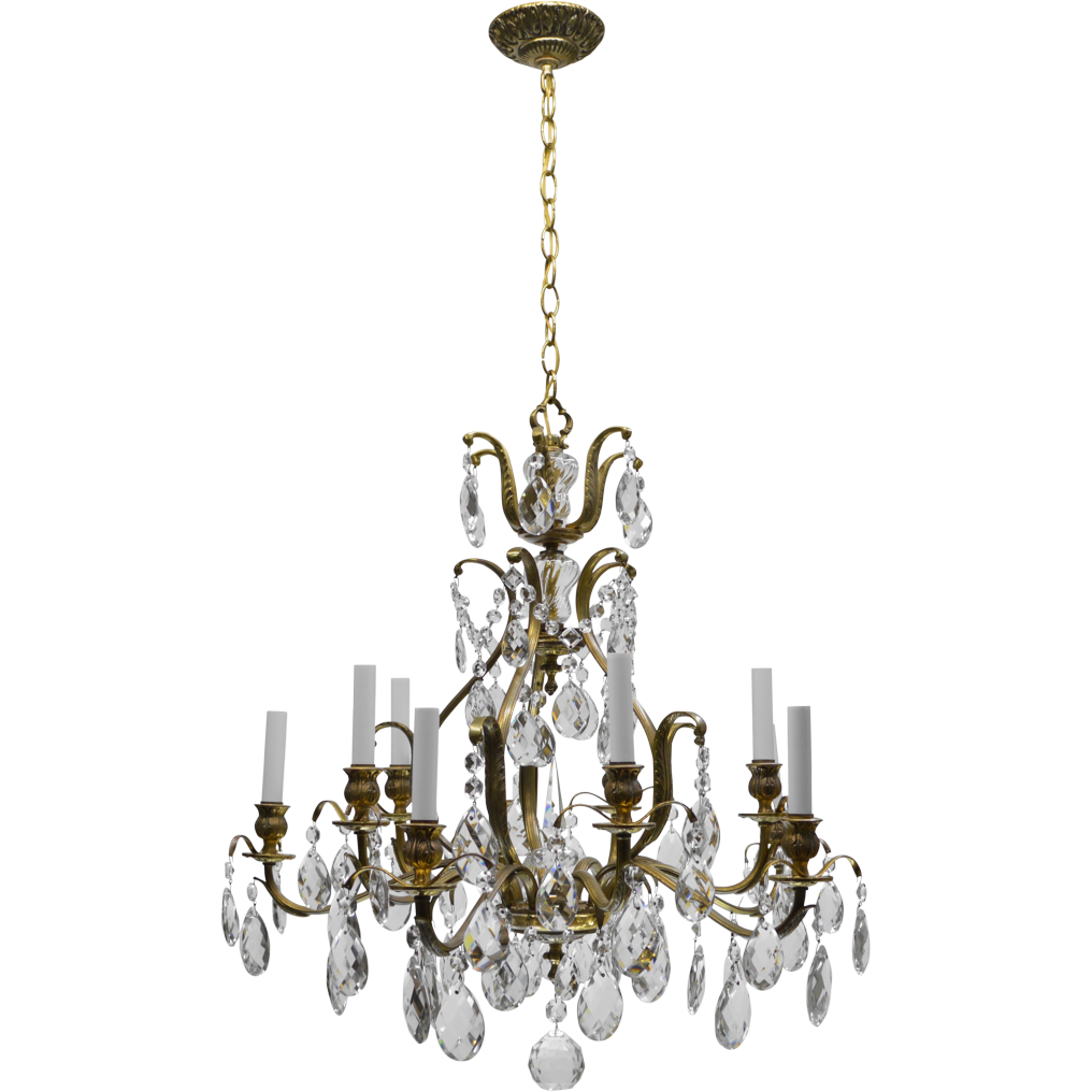 vintage swedish chandelier brass crystal 10 lights from tolw on ruby lane. Black Bedroom Furniture Sets. Home Design Ideas