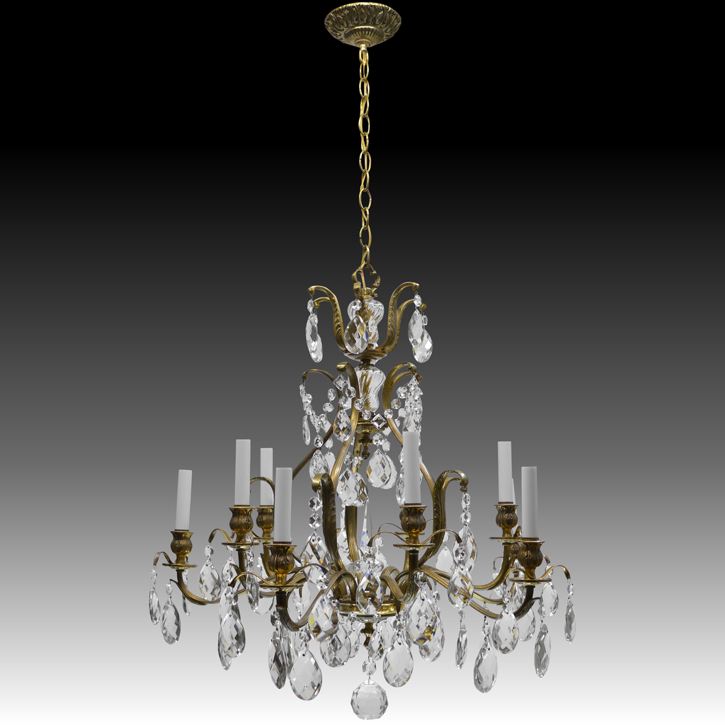 Vintage swedish chandelier brass crystal 10 lights from tolw roll over large image to magnify click large image to zoom arubaitofo Gallery