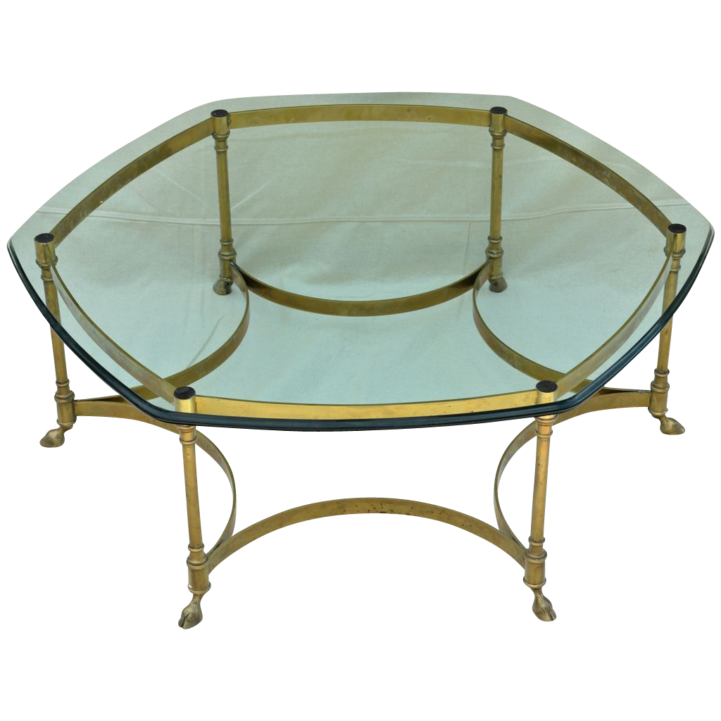 Vintage La Barge Labarge Brass Coffee Table Heavy Glass Top From Tolw On Ruby Lane