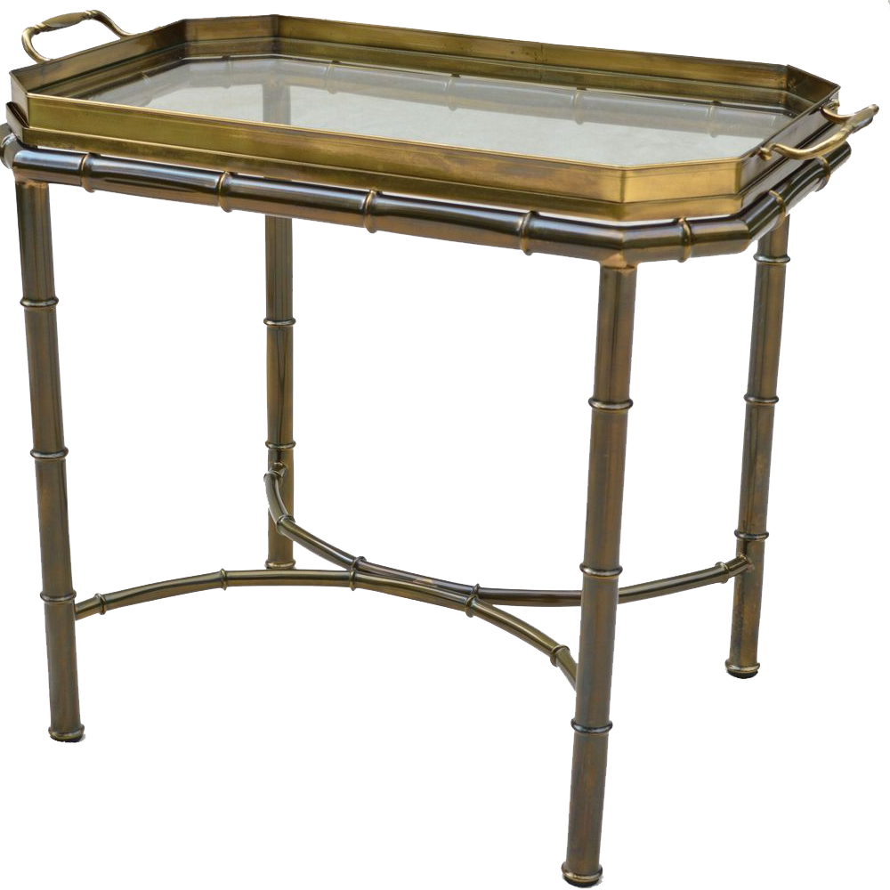 Charming Mastercraft Faux Bamboo Tray Table   Solid Brass