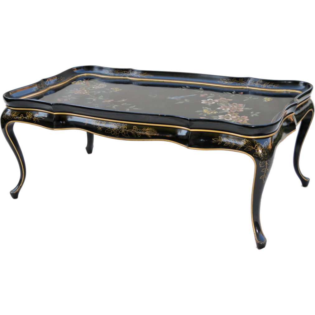 Mid-Century Black Lacquer Asian Coffee Table