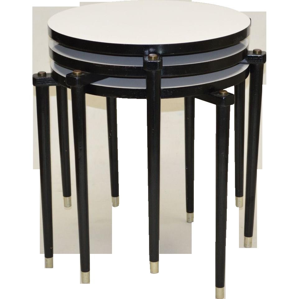 Three Mid-Century Stacking Tables - White & Black