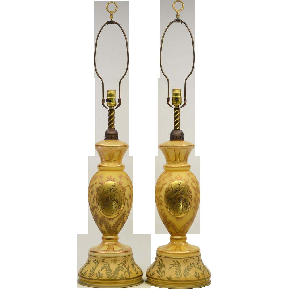 Pair Vintage Glass Lamps Goddess & Cherub Hand Painted