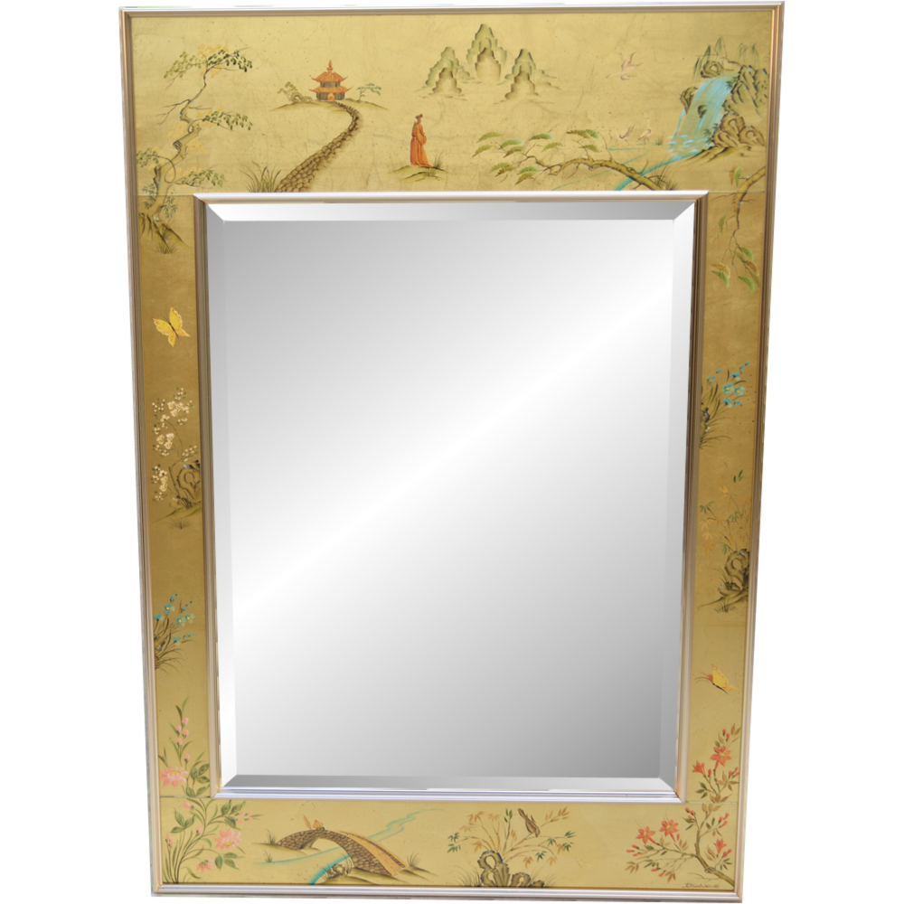 Vintage Labarge Chinoiserie Mirror Artist Signed 1983