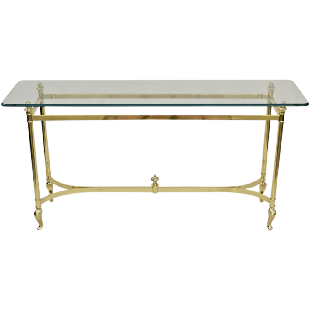 Italian brass and glass table sofa console from tolw for Table console