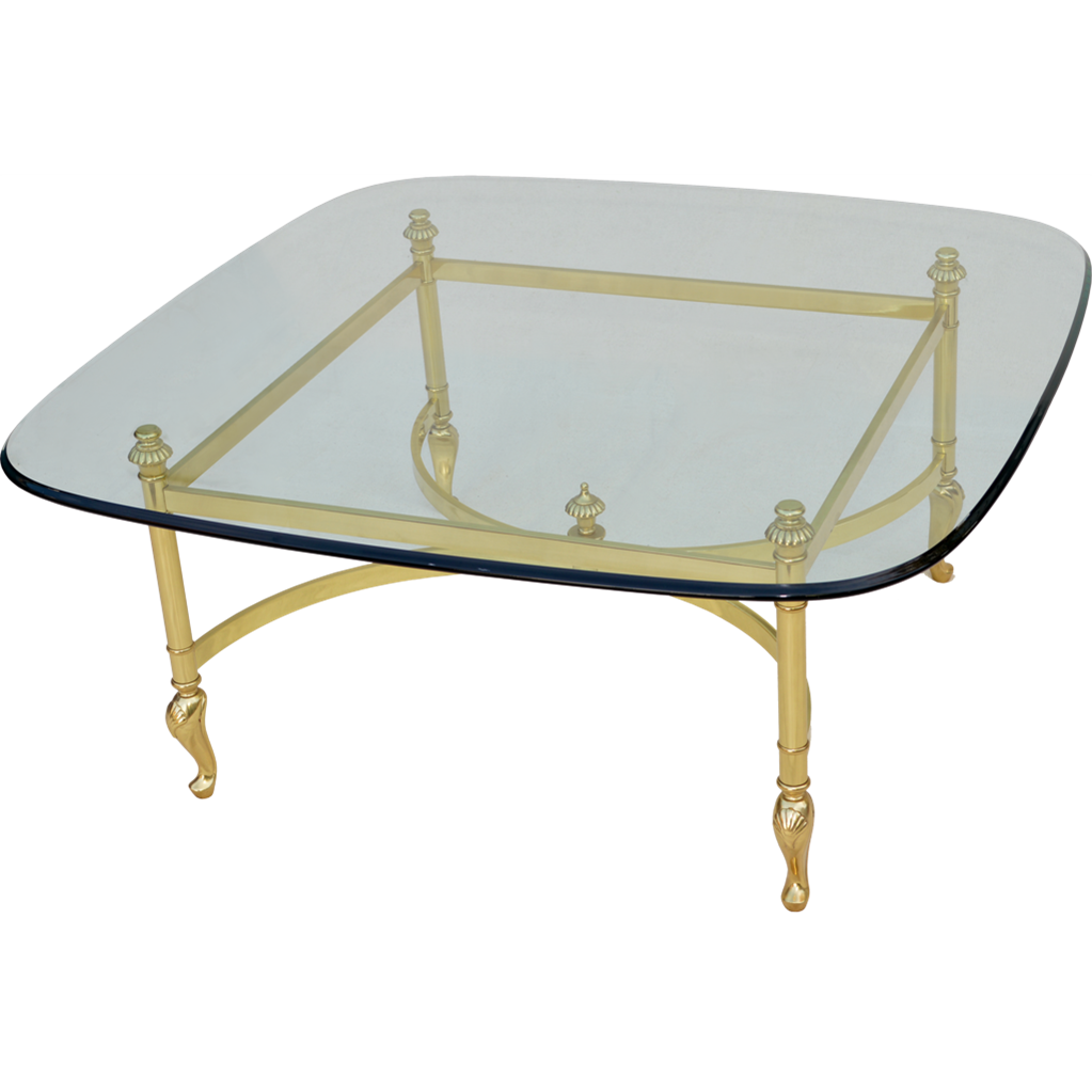 Italian brass glass coffee table from tolw on ruby lane Glass coffee table base