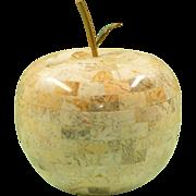 Maitland Smith Apple Marble Box with Malachite Inlay Leaf