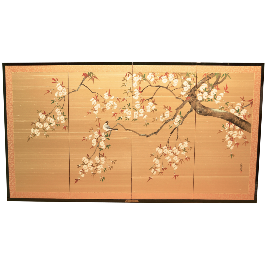 Vintage Silk Japanese Screen Hand Painted 4 Panels Sold On