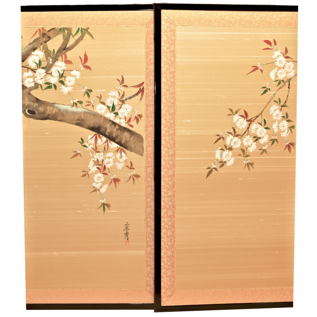 Vintage Silk Japanese Screen Hand Painted 4 Panels SOLD on ...