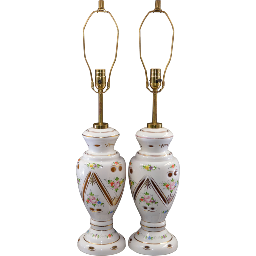 Pair Bohemian Cut to Amber Glass Lamps