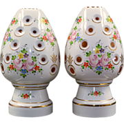 Pair Bohemian Cut to Amber Lamps - Egg Form