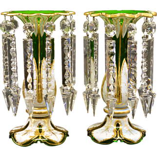 Antique Moser Mantle Lusters - Cased White over Green Glass