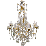 Vintage Italian Gilded Macaroni Beaded Crystal Prism Chandelier - 8 Lights