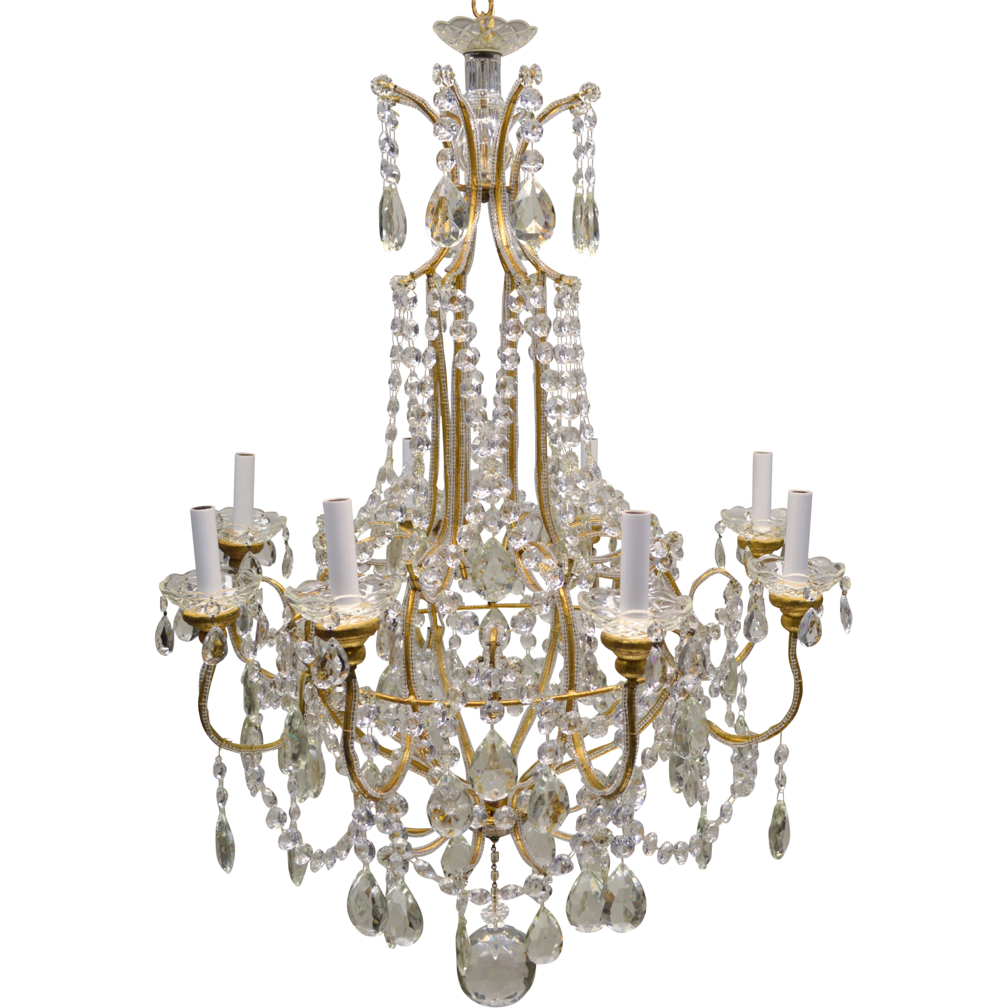 Vintage italian gilded macaroni beaded crystal prism chandelier vintage italian gilded macaroni beaded crystal prism chandelier 8 lights arubaitofo Images