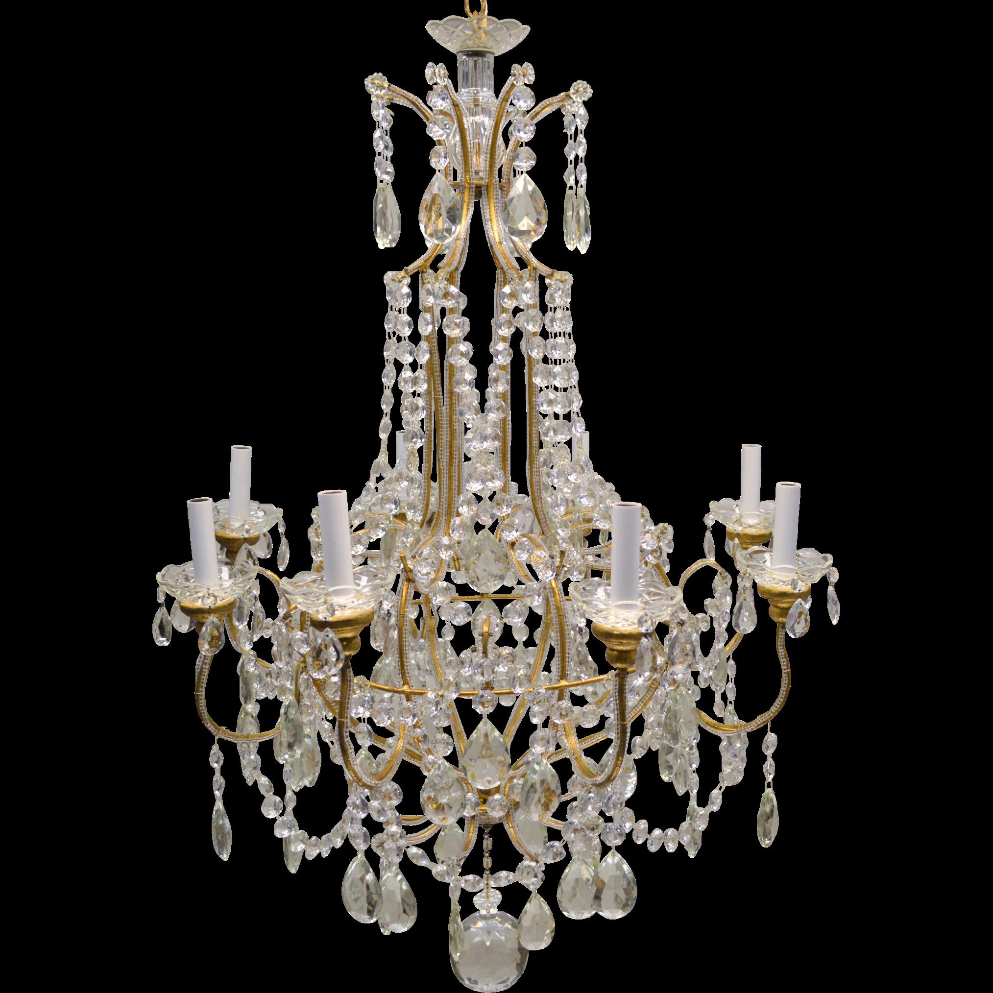 Vintage Italian Gilded Macaroni Beaded Crystal Prism Chandelier - 8 Lights