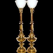 Pair Brass Stiffel Lamps Mid-Century