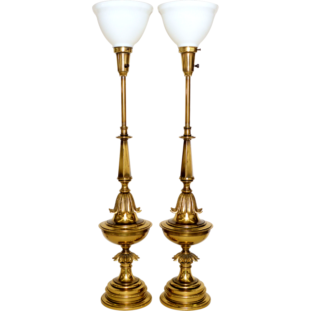 Lighting Lamp: Pair Brass Stiffel Lamps Mid-Century From Tolw On Ruby Lane
