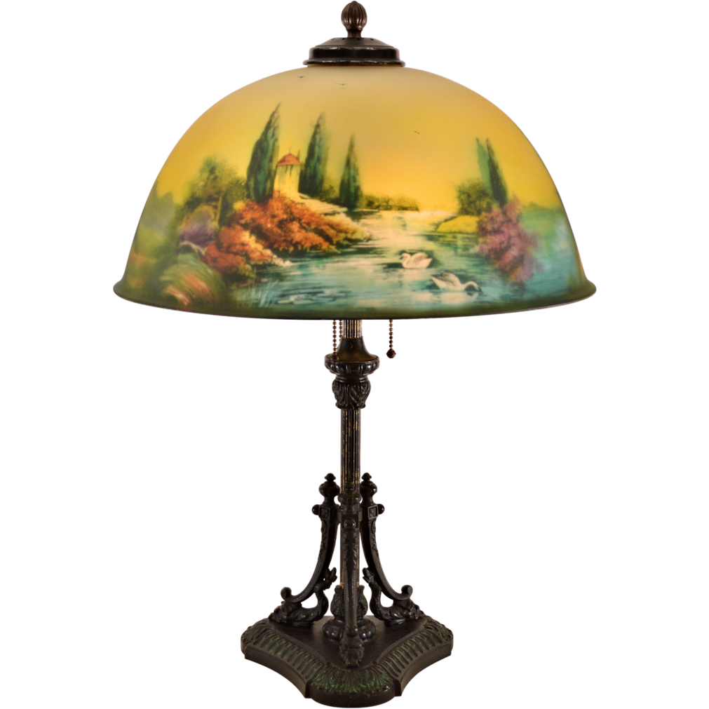 Pittsburgh Reverse Painted Lamp - Dolphin Base - 18 inch