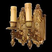 Ornate Antique Gilded Brass Sconces