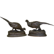 Pair Antique French Bronze Pheasants Sculptures - Moigniez & Barye