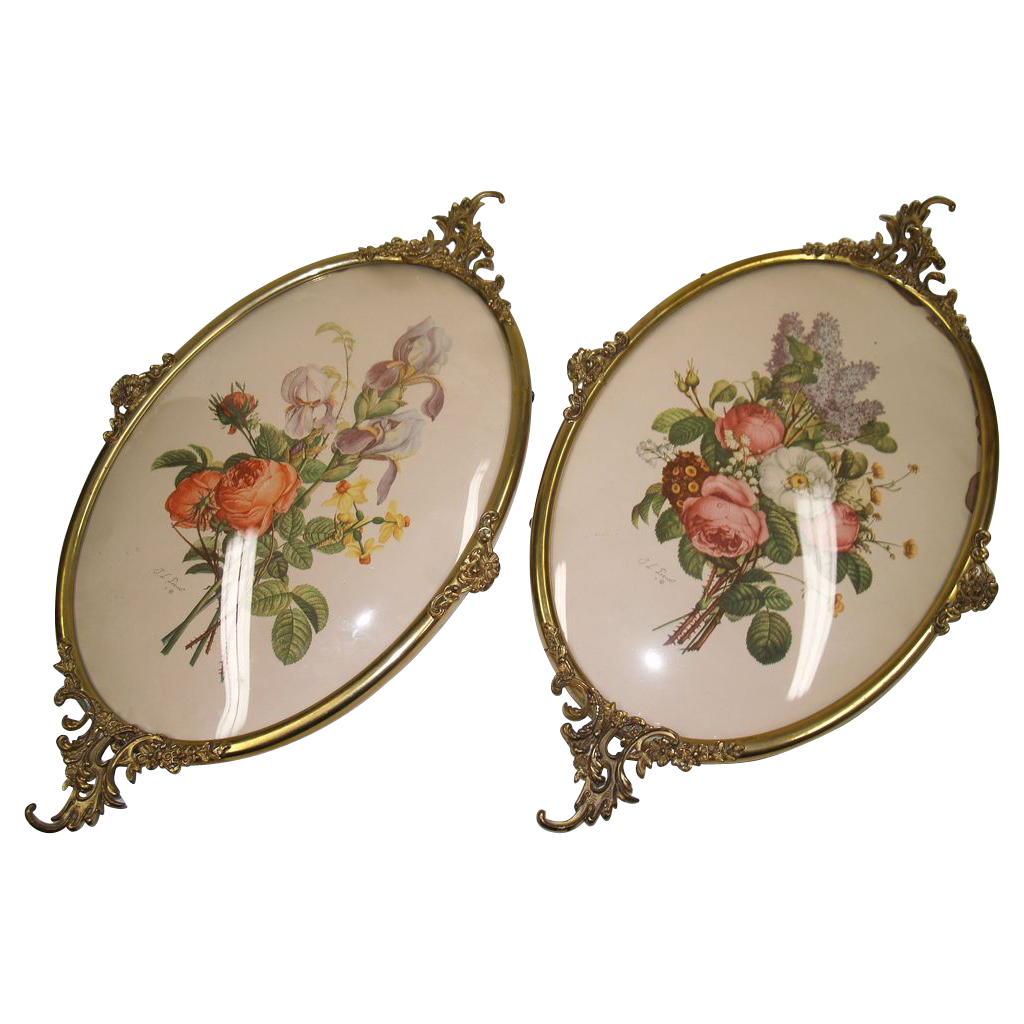 Pair Brass Frames Convex Glass - Vintage