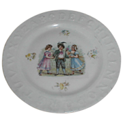 Lovely Antique ABC Plate, A Young Lad & 2 Girls