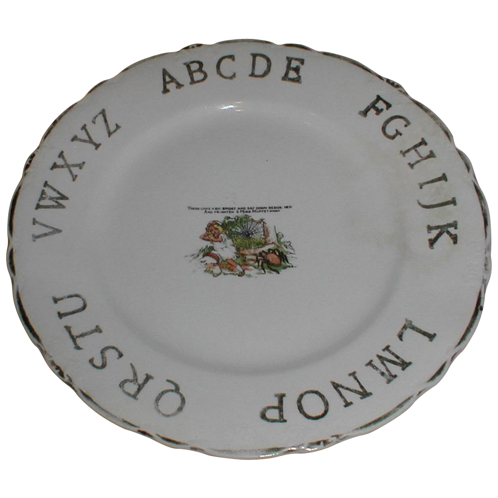 "Lovely ABC Plate ""Litlle Miss Muffet"" D. E. McNichol"