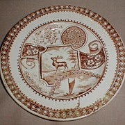 Lovely Brown Transferware Child's Tea Plate STAG Allerton