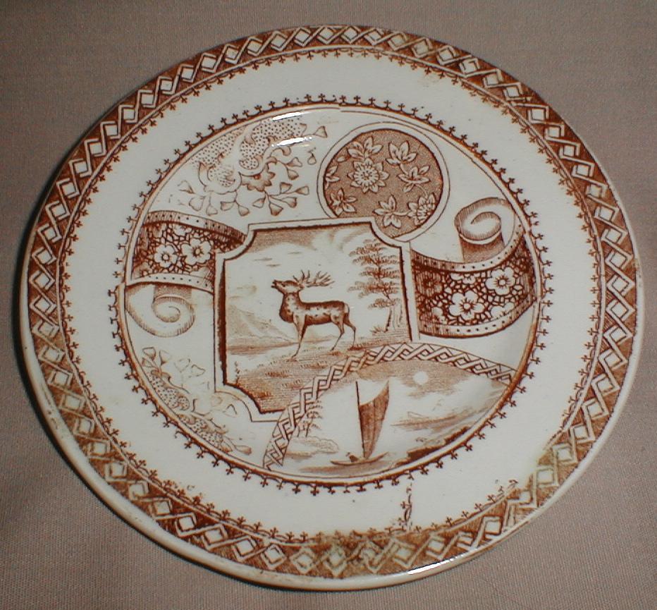 Lovely Brown Transferware Child's Tea Plate STAG Allerton