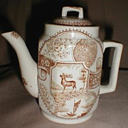 Lovely Brown Transferware Child's Teapot, STAG