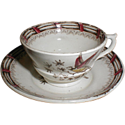 Lovely Brown Transferware Child's Cup & Saucer w/ Bird