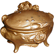 Large Gold Washed Jewelry Casket, Roses