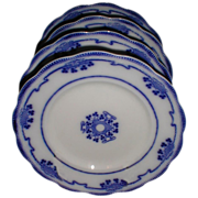 Set of 4 Flow Blue Luncheon Plates LORNE Grindley c. 1900