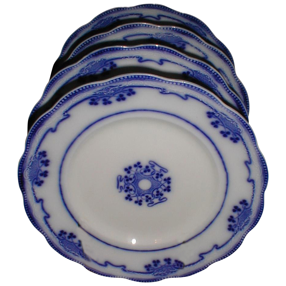 Set of 4 Flow Blue Luncheon Plates LORNE Grindley c. 1900