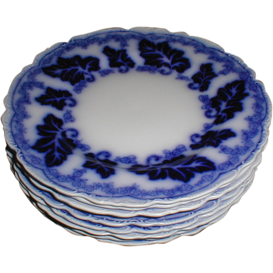"Lovely Flow Blue 8"" Plate NORMANDY Johnson Bros. (8 avail)"