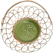 Lovely Small Green Majolica Plate Wireware Basket