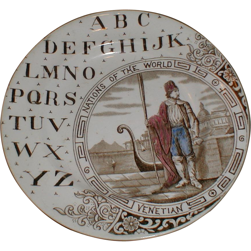 Brown Transferware ABC Plate, Nations of the World, Venetian