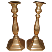 Large Vintage Brass Candlesticks, Pair, English