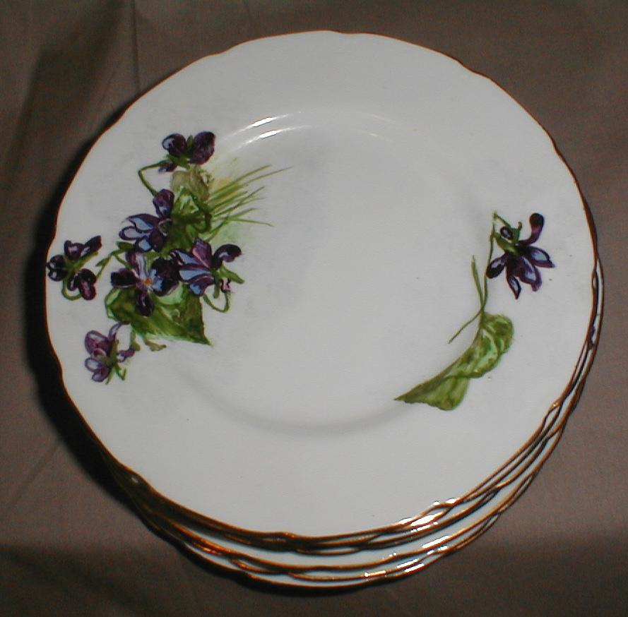 Lovely Hand-Painted Gilded Dessert Plate, Violets (8 available)