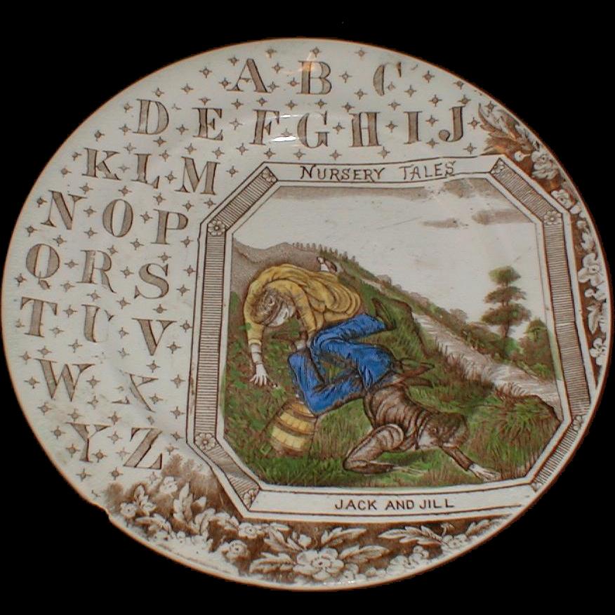 Antique Brown Transferware ABC Plate, JACK & JILL, B.P. Co.