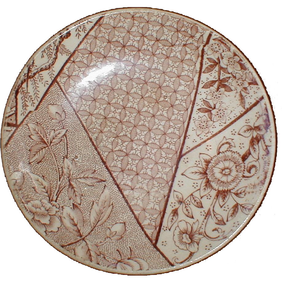 Lovely Brown Aesthetic Transferware Child's Shallow Bowl