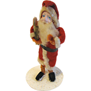 Vintage Standing Painted Clay-Faced Santa Claus