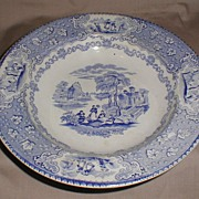 Light Blue Transferware Soup Plate, ITALIAN Lakes, J. & M.P. Bell