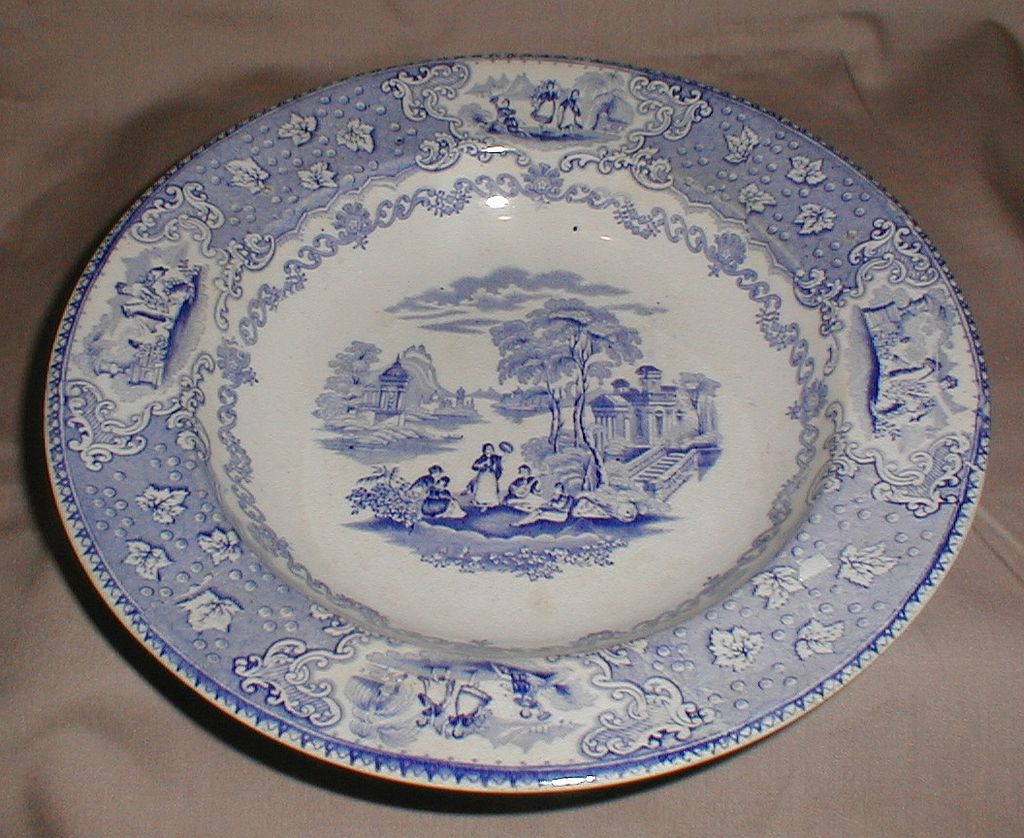 Light Blue Transferware Soup Plate, ITALIAN Lakes, J. & M.P. Bell