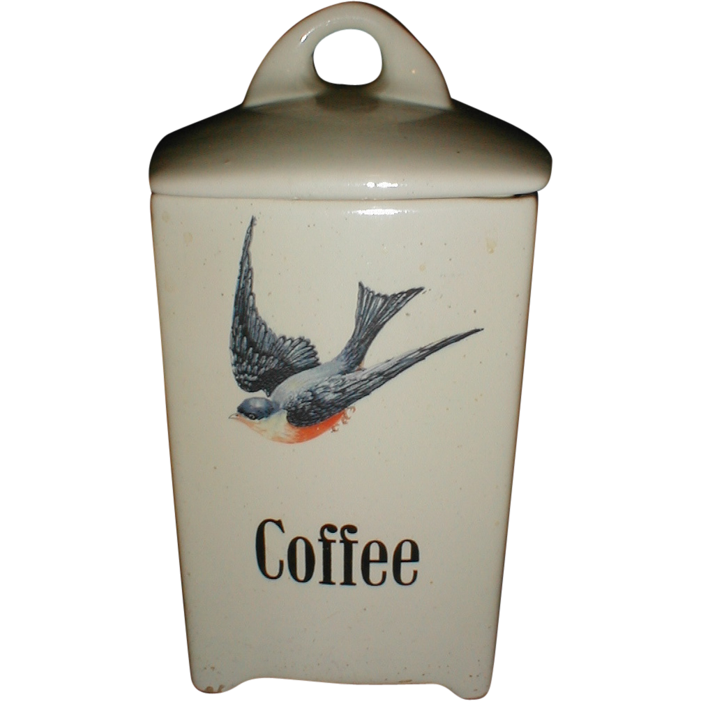 Lovely Bluebird China Canister (Jar), COFFEE