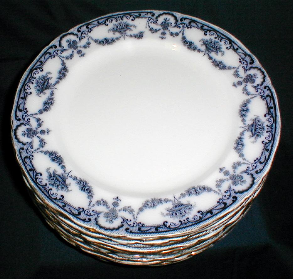 """Lovely Flow Blue 9 3/4"""" Dinner Plate REX Adderleys (12 available)"""