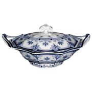 Lovely Flow Blue Vegetable Bowl w/ Lid DUDLEY Ford & Sons  1890